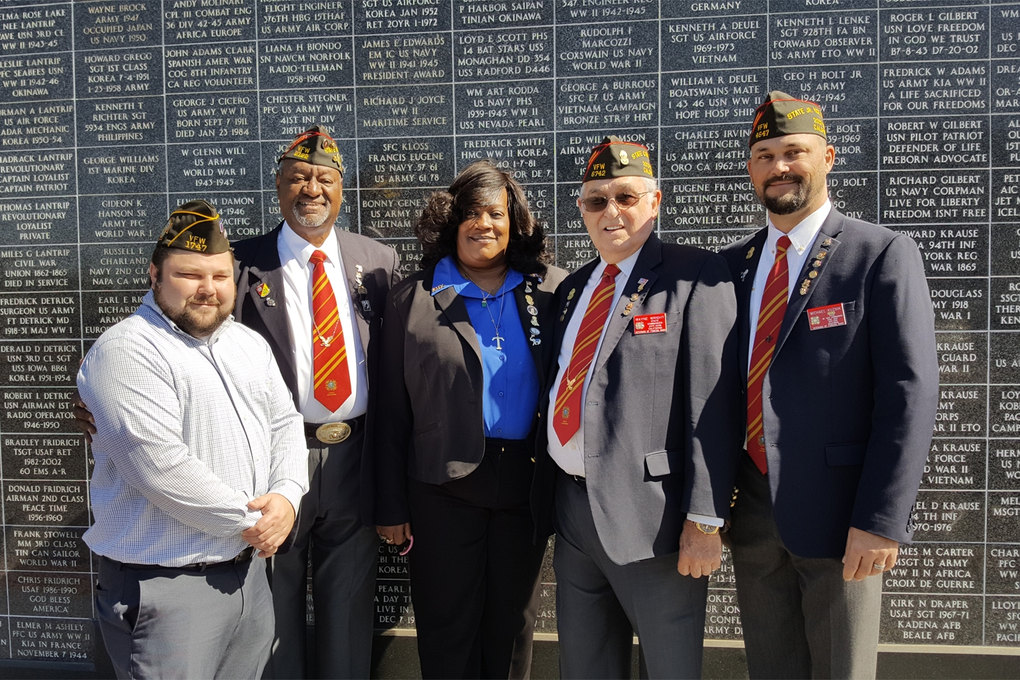 Post 1747 Commander Aaron Fultz with (L to R) Dept of California Sr. Vice Cmdr Lamont Duncan, Dept of California Auxiliary President Traci Lewis-Vantress, Dept of California Commander Wayne Wright and Dept of California Jr. Vice Cmdr Michael Kuznik